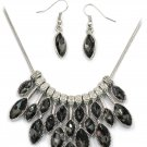 Fashion black crystal necklace earrings set