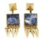 Square blue choi shek golden earrings