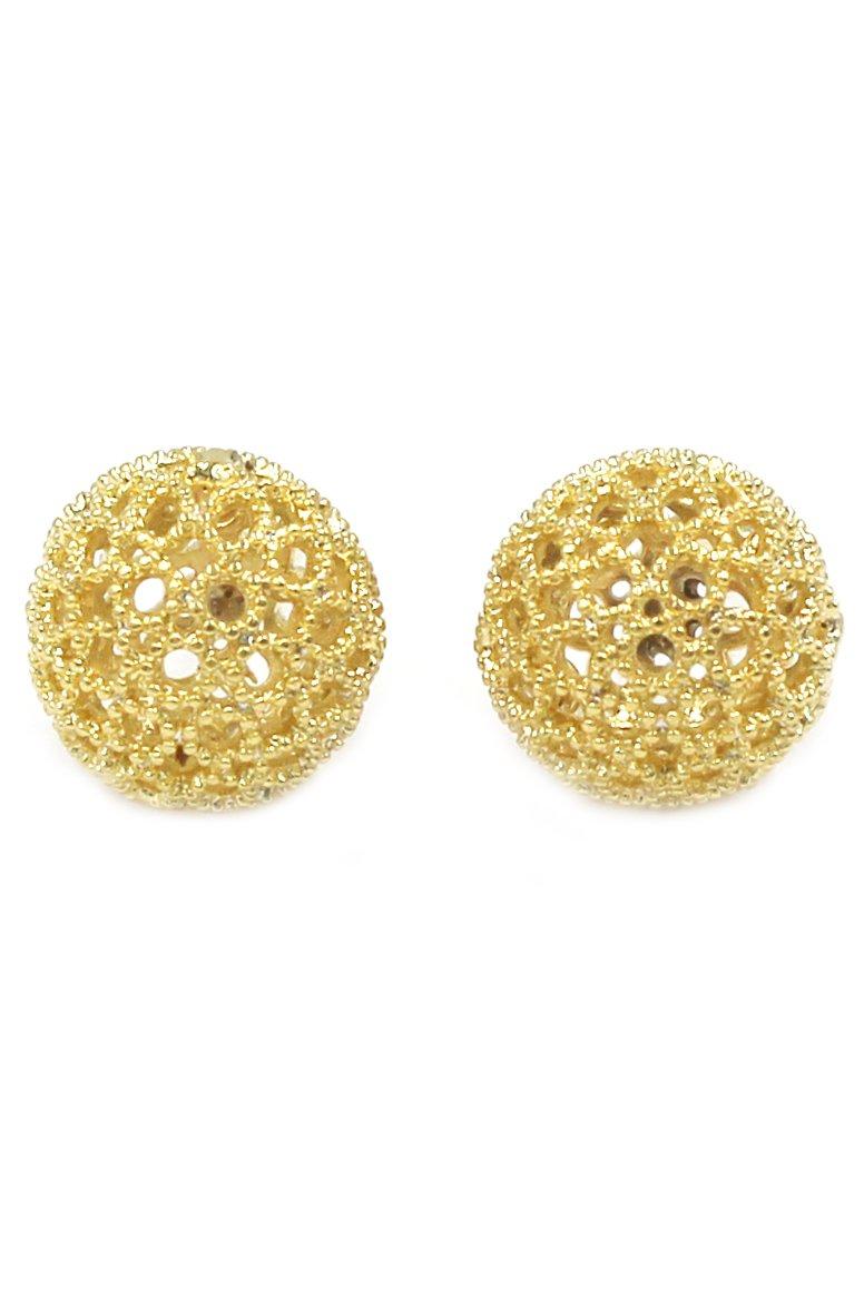 Pierced gold ball earrings