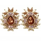 Special golden pineapple crystal earrings
