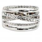 Fashion crystal width silver ring
