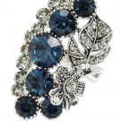 Elegant blue crystal flower and foliage silver ring