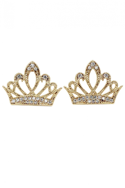 Fashion nestle ear crown crystal gold earrings