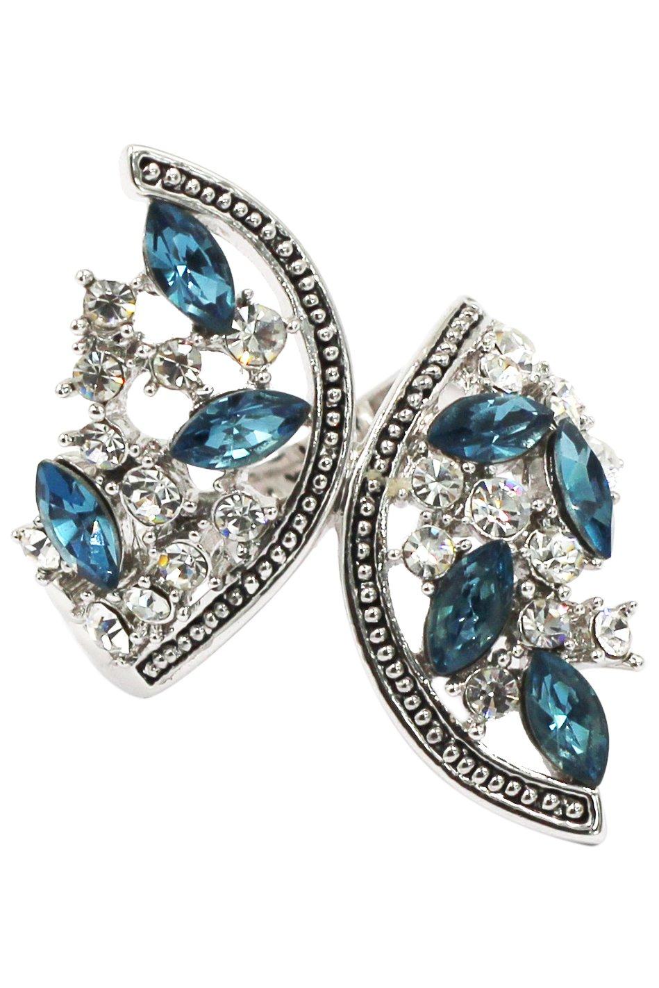 Elegant symmetry crystal silver ring
