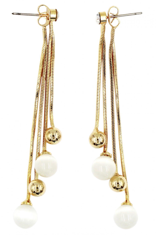 Fashion pendant bead gold earrings