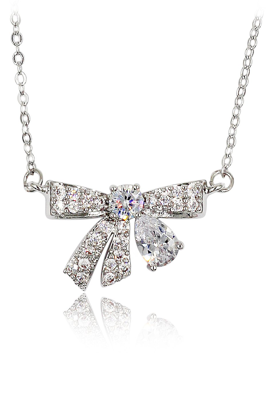 Fashion pendant crystal knot silver necklace