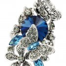 Elegant blue crystal butterfly and flower ring
