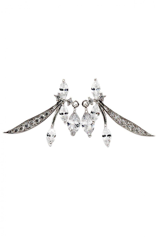 Lovely little crystal dragonfly silver earrings
