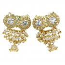 Lovely crystal pendant owl gold earrings