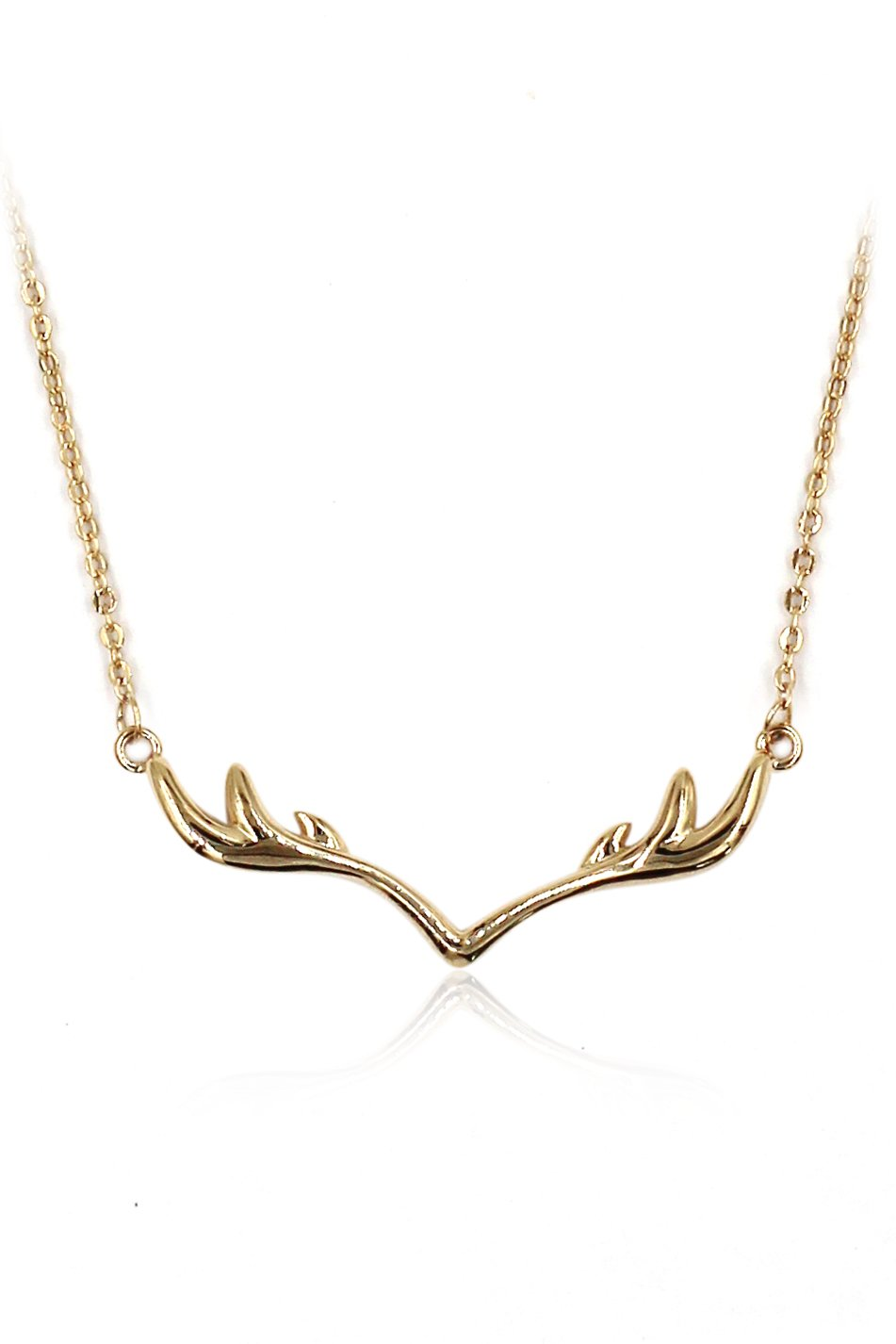 Fashion antlers clavicle Sterling Silver Chain gold necklace