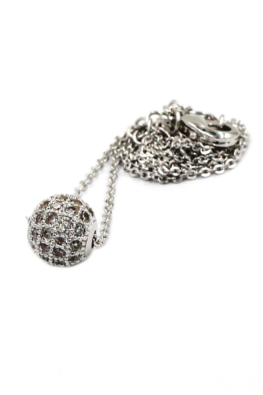 Lucky small crystal ball clavicle Sterling Silver Chain silver necklace