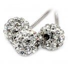 Fashion small crystal balls Sterling Silver Chain silver necklace