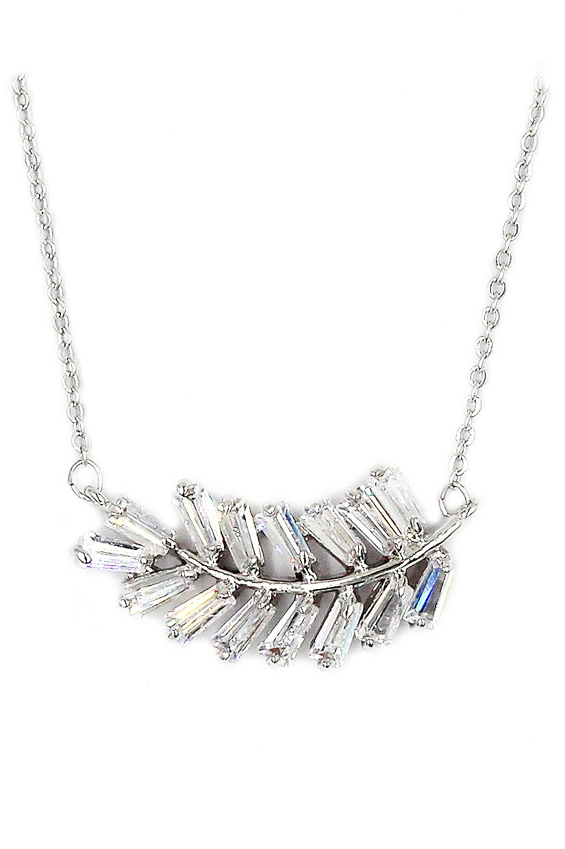 Fashion small crystal row Sterling Silver Chain silver necklace