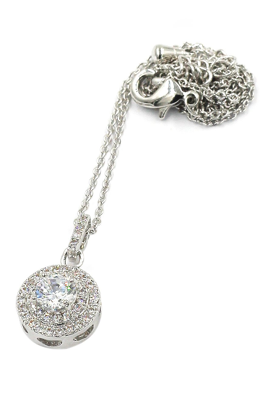 Shining crystal hollow heart Sterling Silver Chain silver necklace