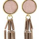 Simple wire tassel pink earrings
