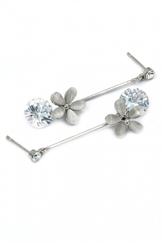 Pendant flower crystal silver earrings