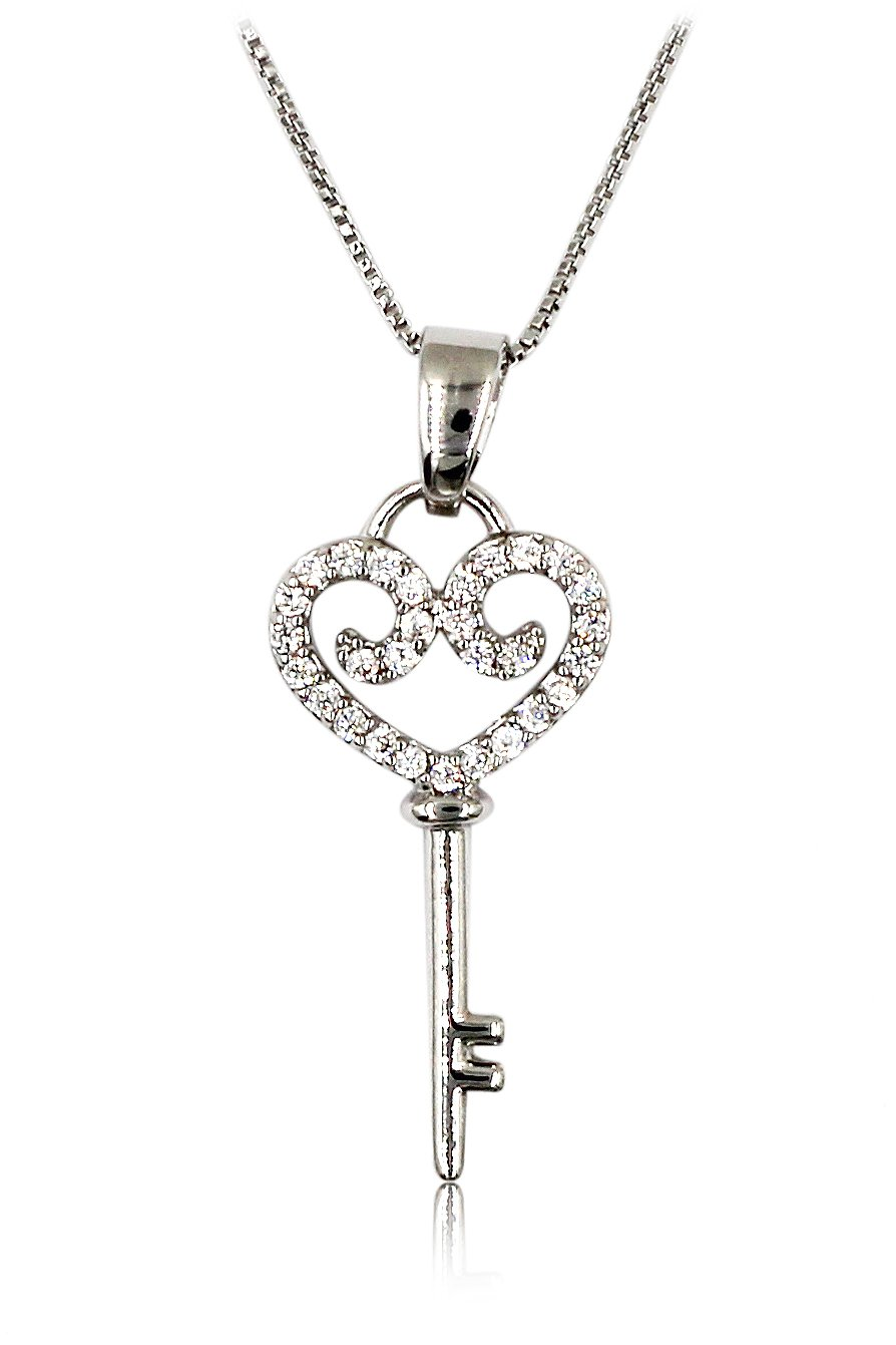Lovely small crystal heart key Sterling Silver Chain Silver necklace