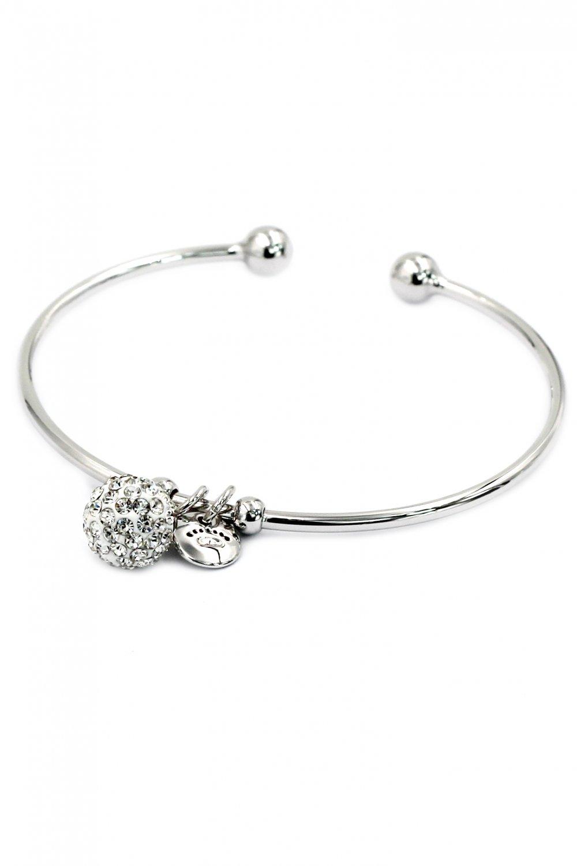 Fashion crystal ball silver bracelet