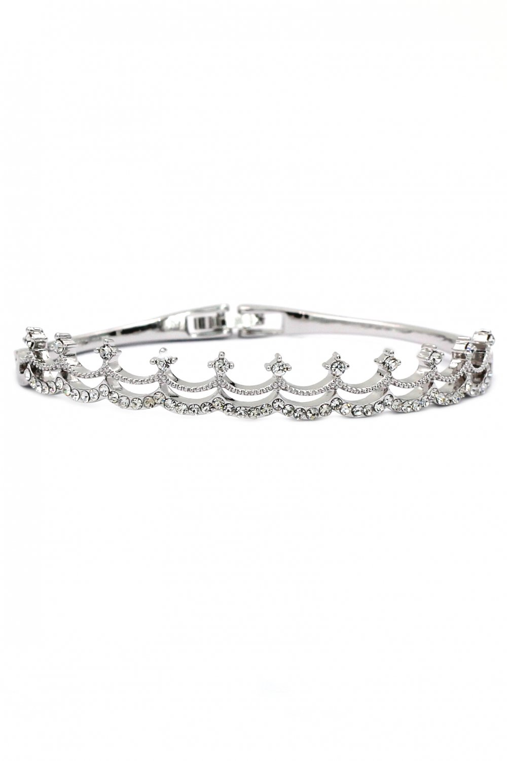 Fashion small crystal crown silver bracelet