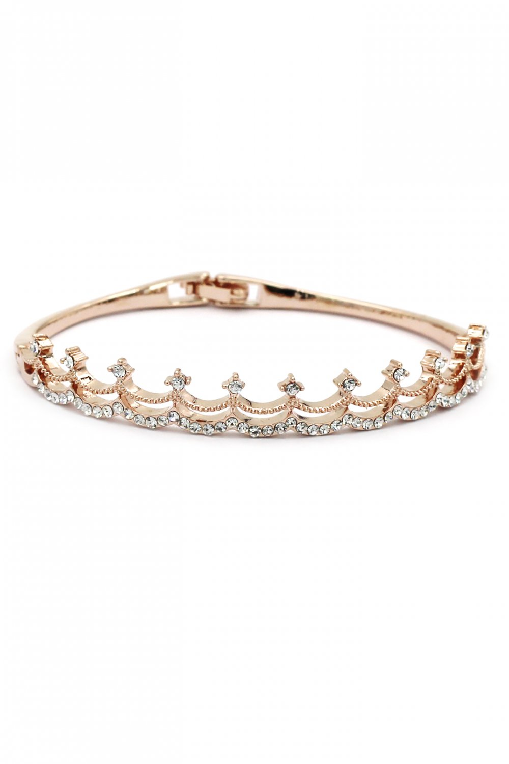 Fashion small crystal crown rose gold bracelet