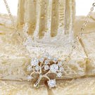 Mini crystal tree clavicle Sterling Silver Chain gold necklace
