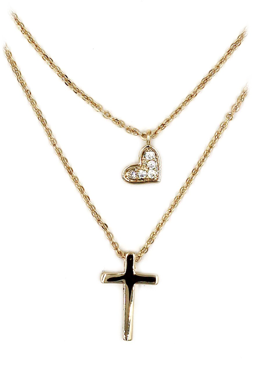 Duplexes small crystal cross and heart Sterling Silver Chain gold necklace