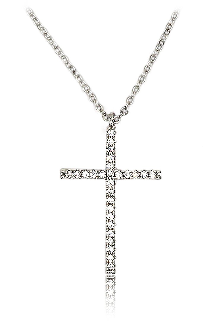 Mini crystal small cross silver necklace