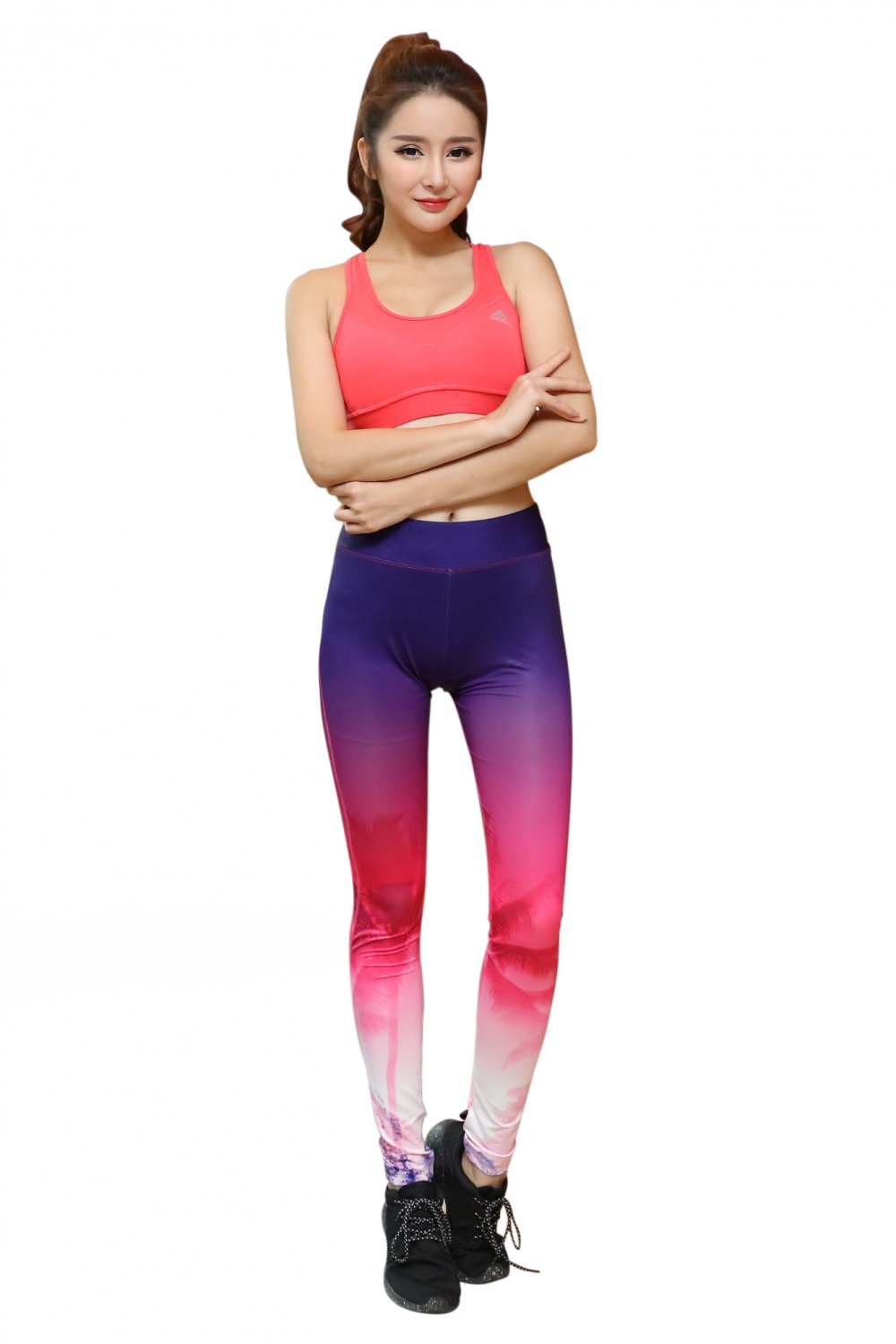 Blue Gradient pink white pattern hips leggings