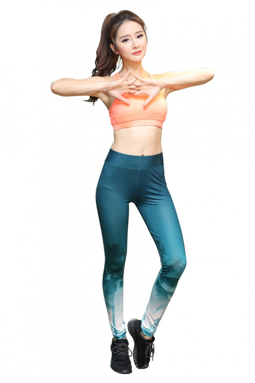 Green Gradient White pattern hips leggings