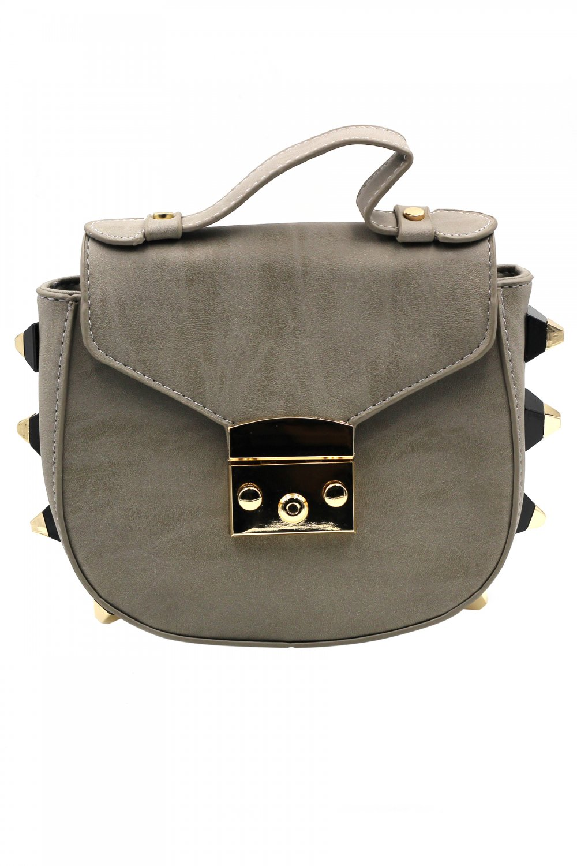 Fashion buckle lady leather gray purses