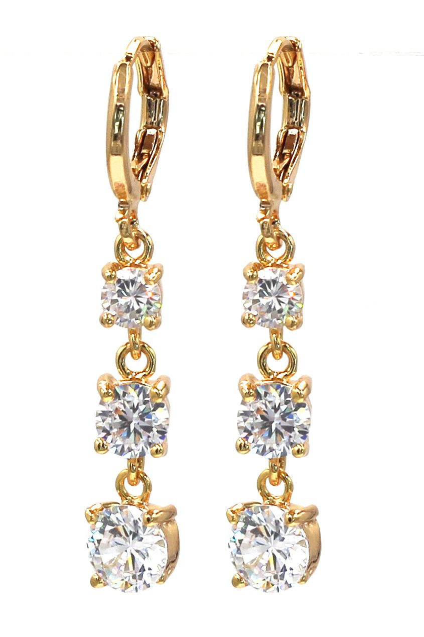 Noble pendant crystal golden earrings