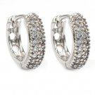 Mini crystal silver circle earrings