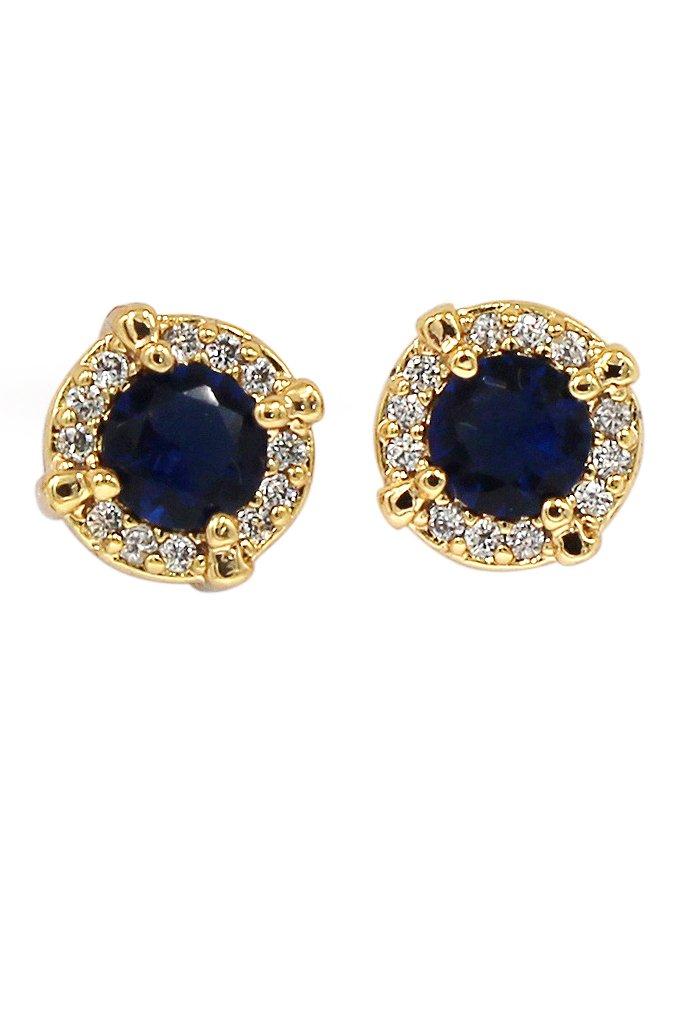 Simple golden blue crystal earrings
