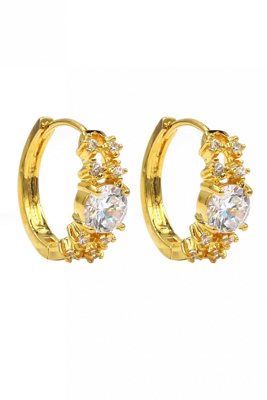 Noble crystal gold earrings