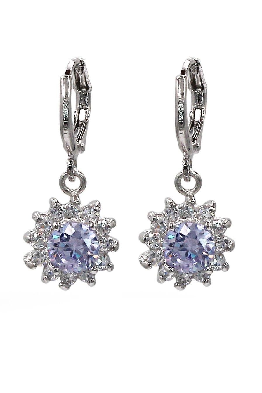 Lovely pendant color crystal sun silver earrings