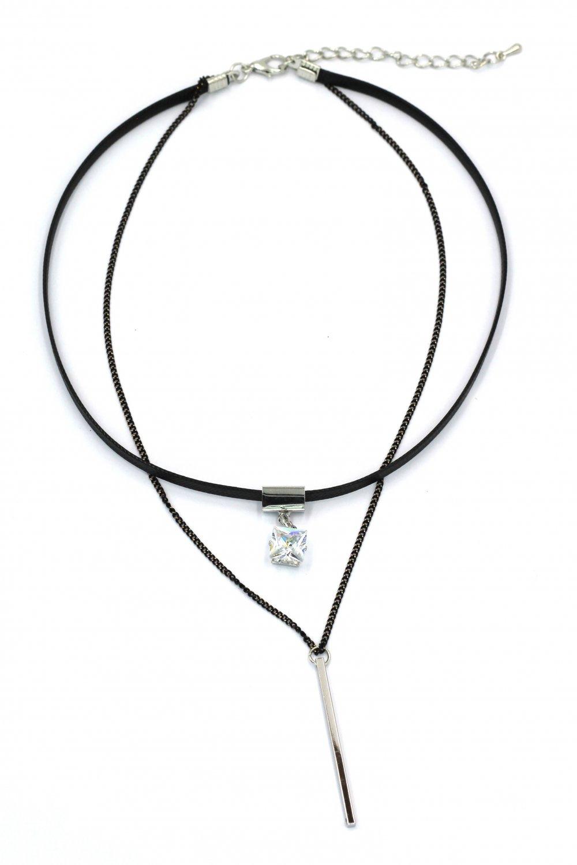 Fashion double-chain square crystal pendant choker