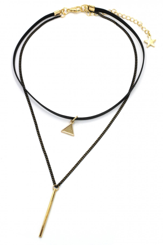 Fashion double-chain triangle pendant choker