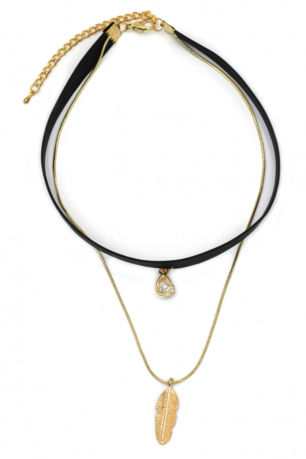Fashion double-chain crystal drop and plumage pendant choker