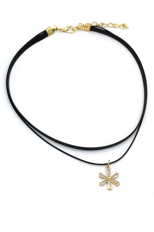 Fashion double-chain singel crystal flower choker