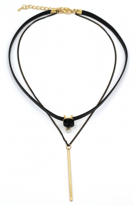 Fashion double-chain black crystal choker