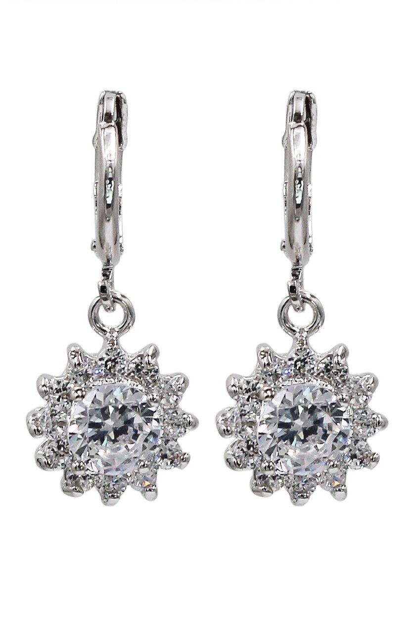 Lovely pendant white crystal sun silver earrings