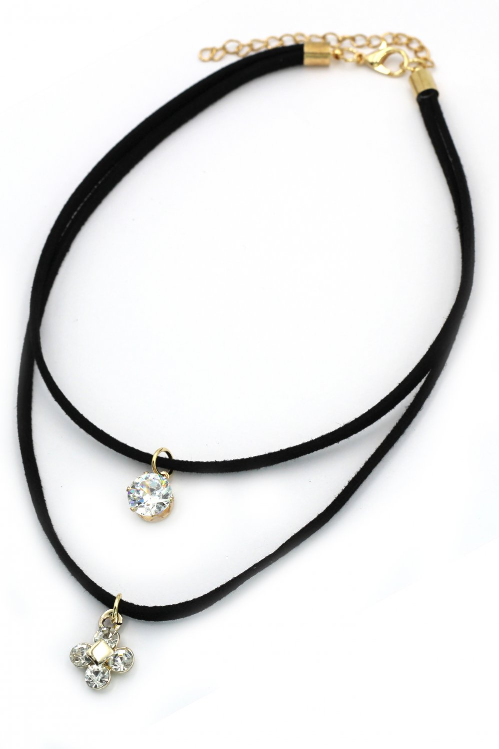 Fashion double-chain crystal and flower pendant black choker
