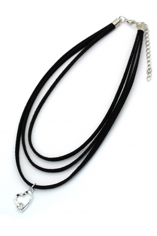 Fashion three-chain crystal pendant heart black choker