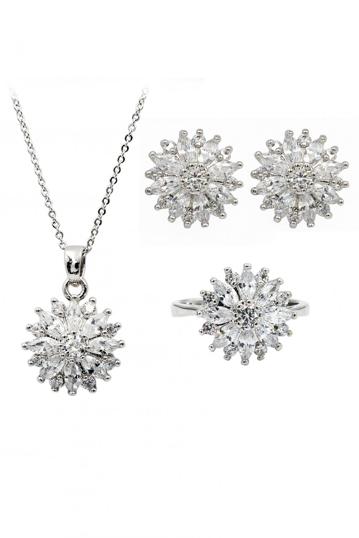 Shining crystal sun flower necklace earrings ring set