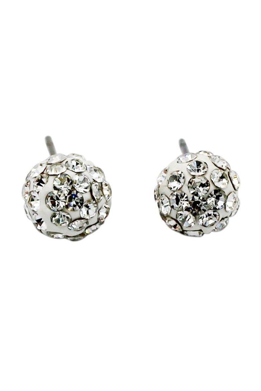 White ball ornament crystal earrings