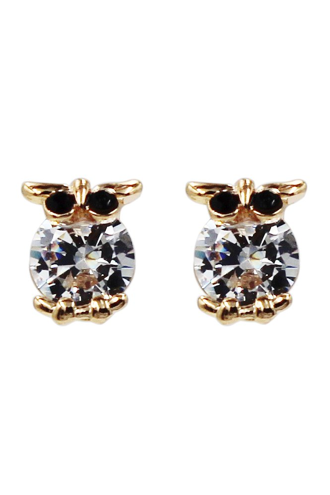 Mini owl abdomen crystal gold earrings