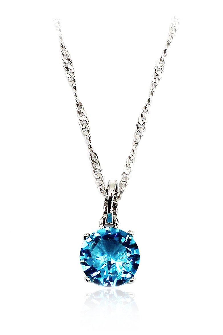 Fashion clear blue crystal Sterling Silver Chain silver necklace