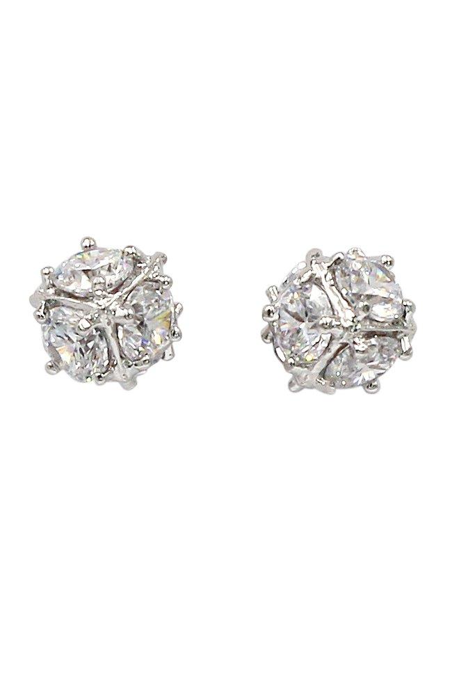 Small crystal ball silver stud earrings