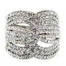 Fashion crystal mask silver ring