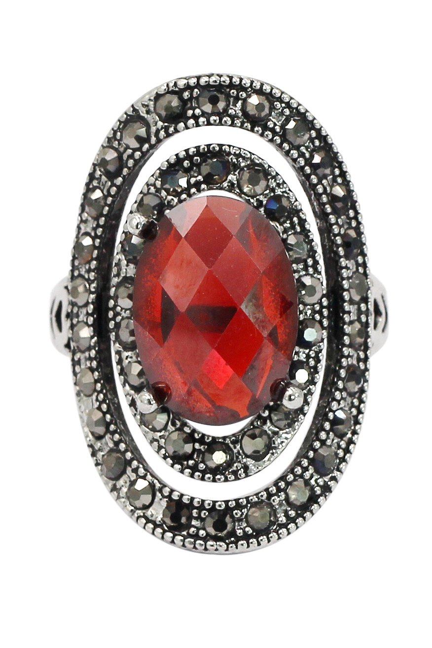 Fashion revolve red crystal silver ring